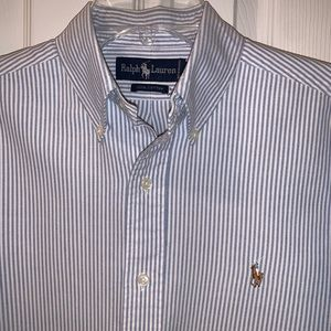 Polo by Ralph Lauren blue/white stripe oxford, EUC